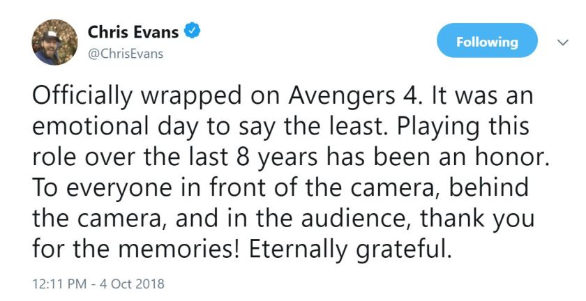 chris evans tweet